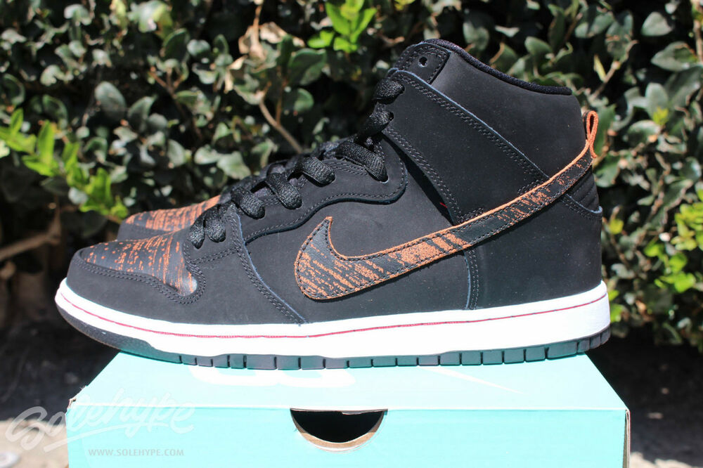 cce71d139 NIKE DUNK HIGH PRO SB SZ 6 BLACK UNIVERSITY RED DISTRESSED LEATHER 305050  026