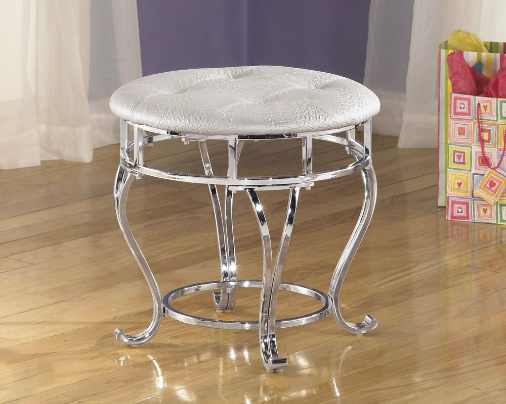 Girls Vanity Stool Round Chrome White Cushion Seat Faux Leather Bench Chair P