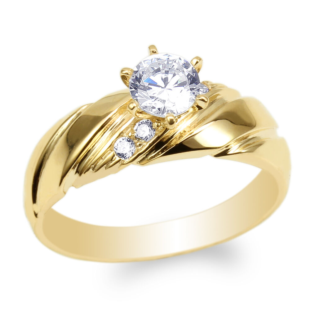 Womens 10K Yellow Gold Round CZ Luxury Engagement Wedding