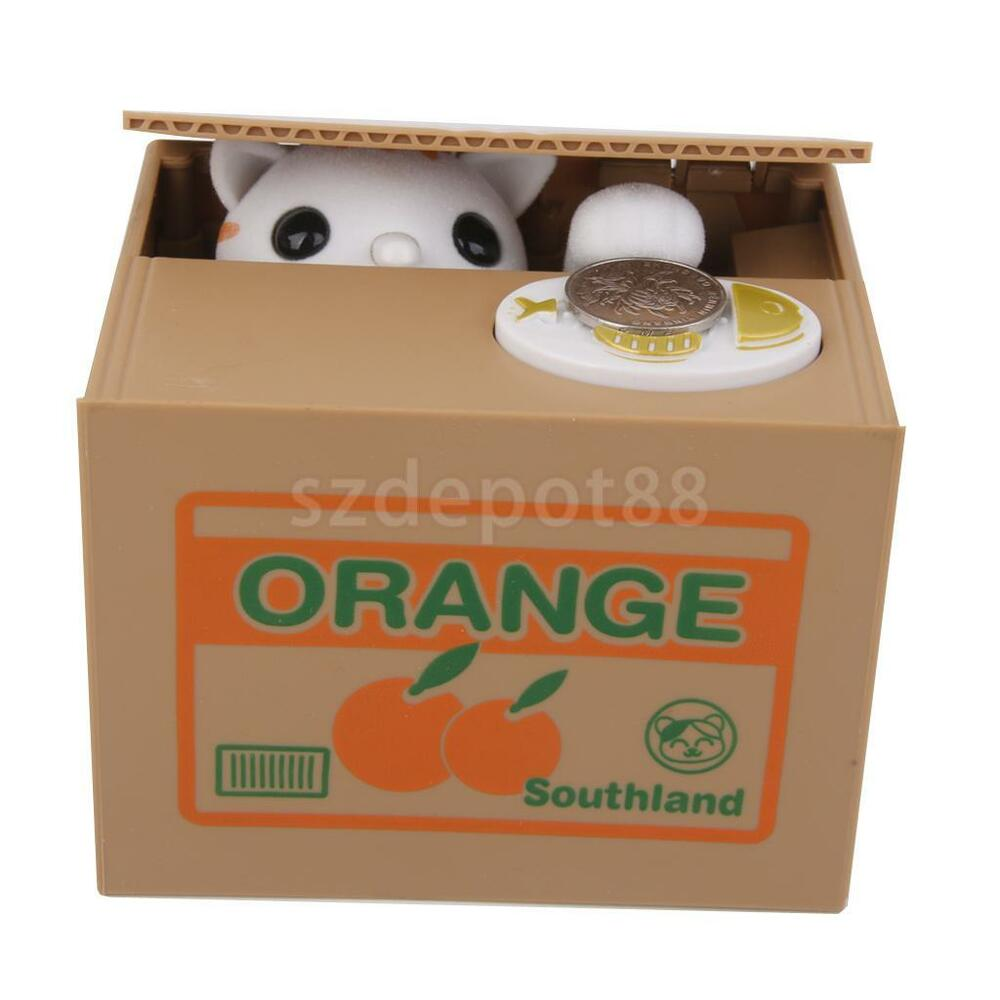 Automatic stealing coin white cat kitty penny cents piggy bank saving box ebay - Coin stealing cat piggy bank ...