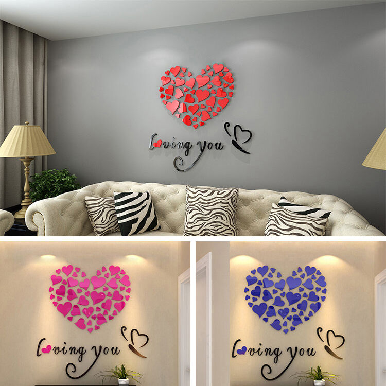 Loving You Heart Removable Acrylic Decal Art Mural Wall