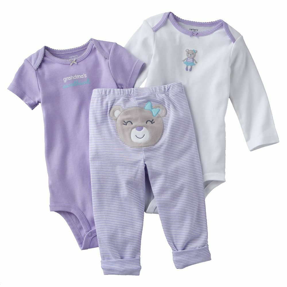 NWT Carters Baby Girls 3 Piece Bodysuit Set Clothes ...