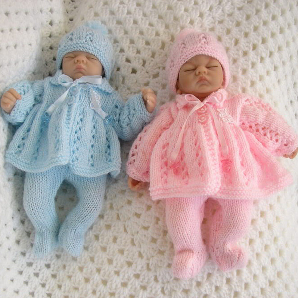 KNITTING PATTERN MATINEE SET FOR PREMATURE BABY 2-3LB,10 ...
