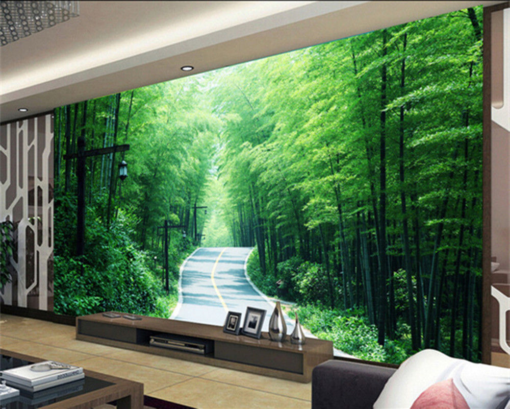3d wallpaper bedroom mural modern embossed bamboo tv for Bamboo mural wallpaper