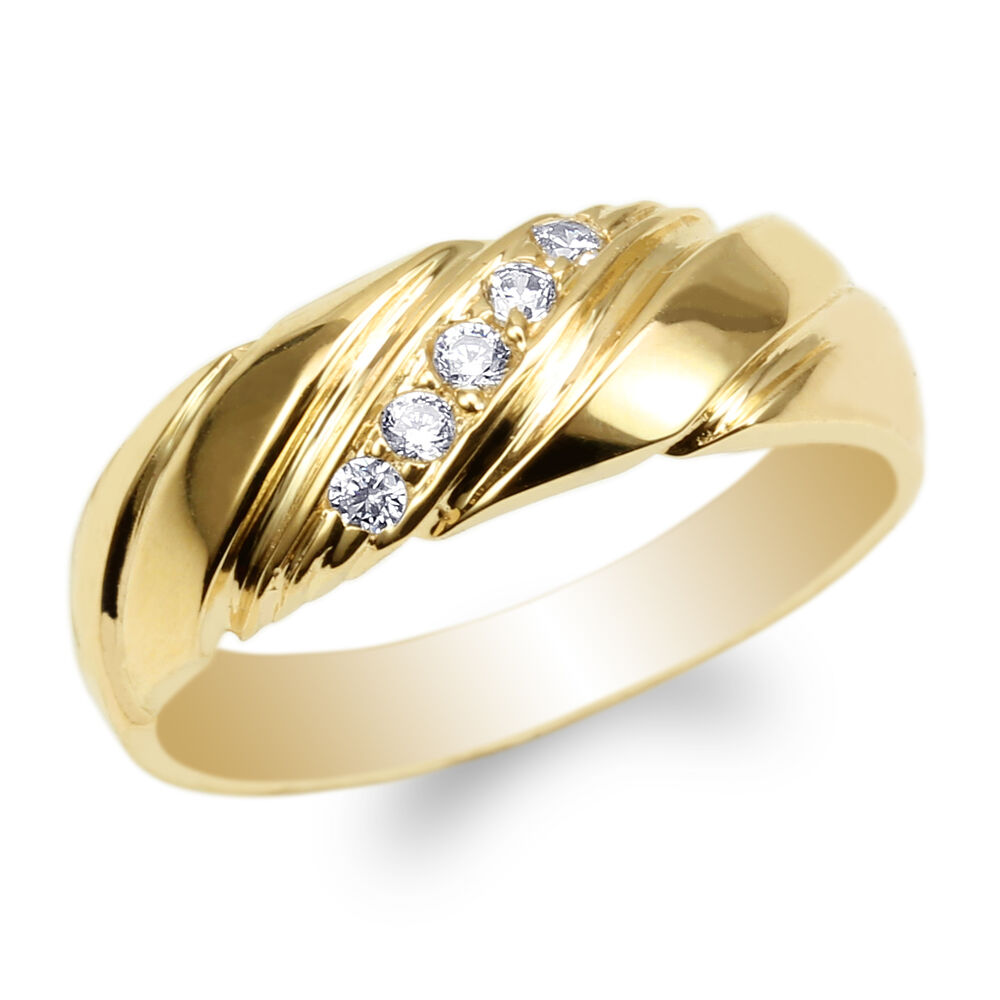 Womens Yellow Gold Plated Round CZ Luxury Wedding Band ...