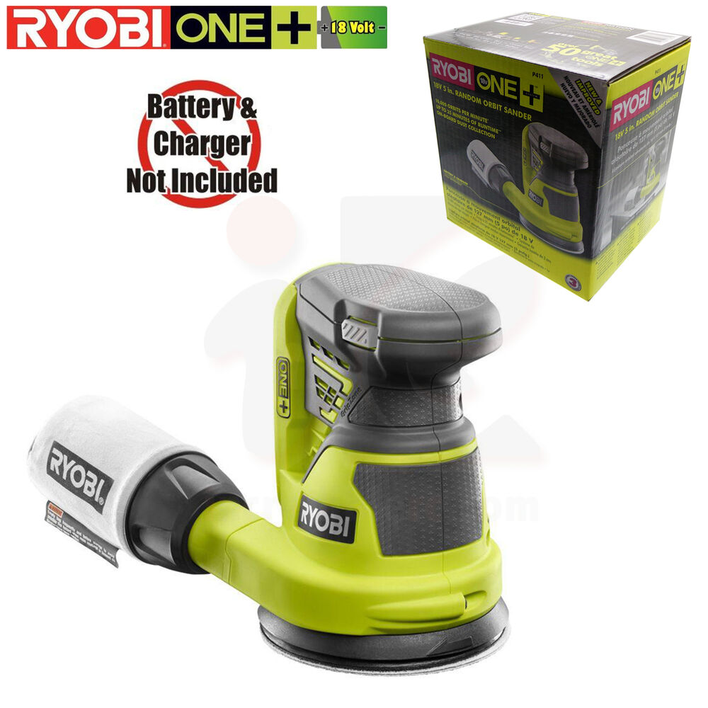 ryobi p411 one 18 volt 5 in cordless random orbit sander tool only new in box ebay. Black Bedroom Furniture Sets. Home Design Ideas