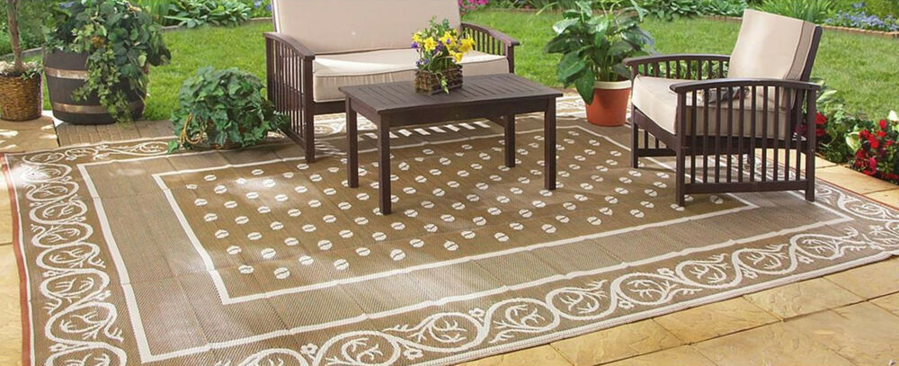Outdoor Reversible Patio RV Mat Deck Door Porch Rug