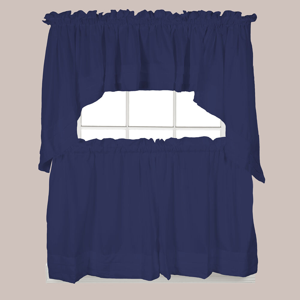 Blue Green Kitchen Curtains: Holden Kitchen Curtain Navy Blue Tiers Swags Valances New