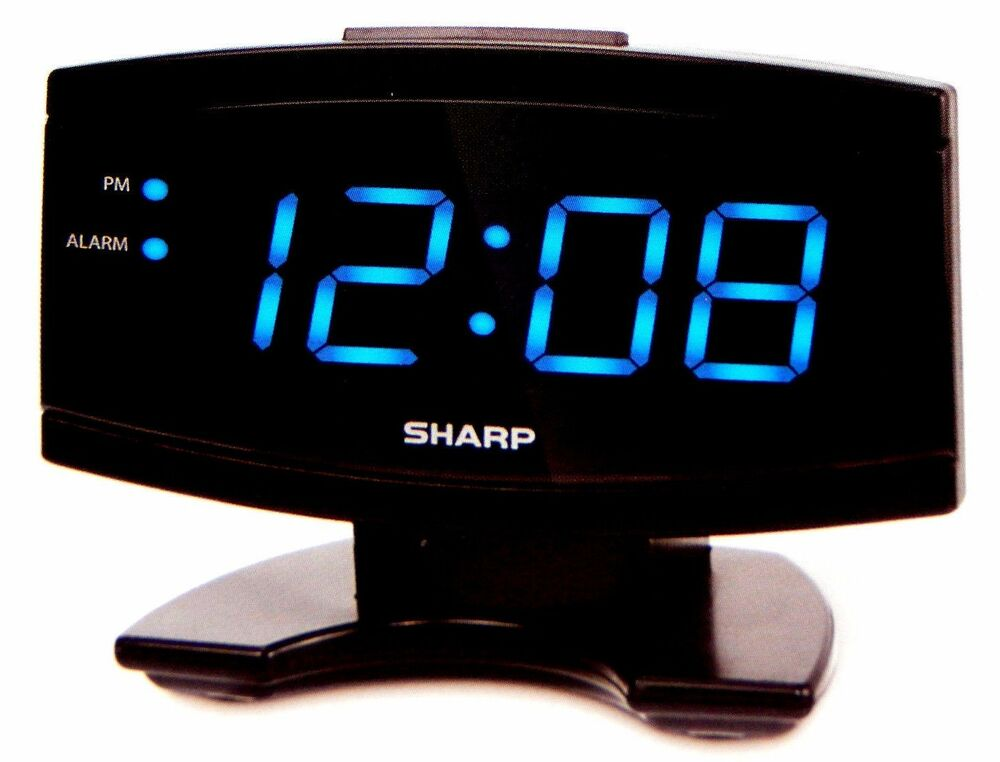 sharp large 2 blue led display digital alarm clock electric beep snooze black ebay. Black Bedroom Furniture Sets. Home Design Ideas
