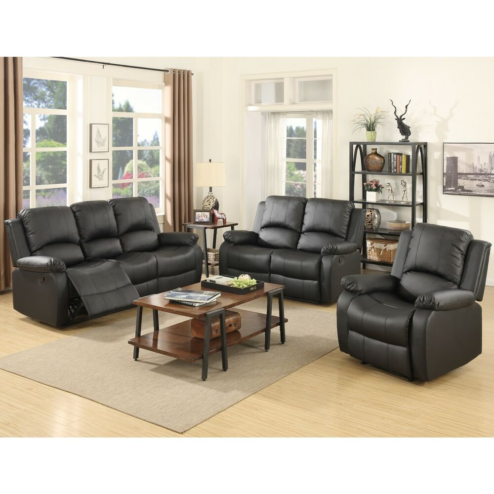 3 set sofa loveseat chaise couch recliner leather living room furniture in black ebay for Living room with black leather furniture