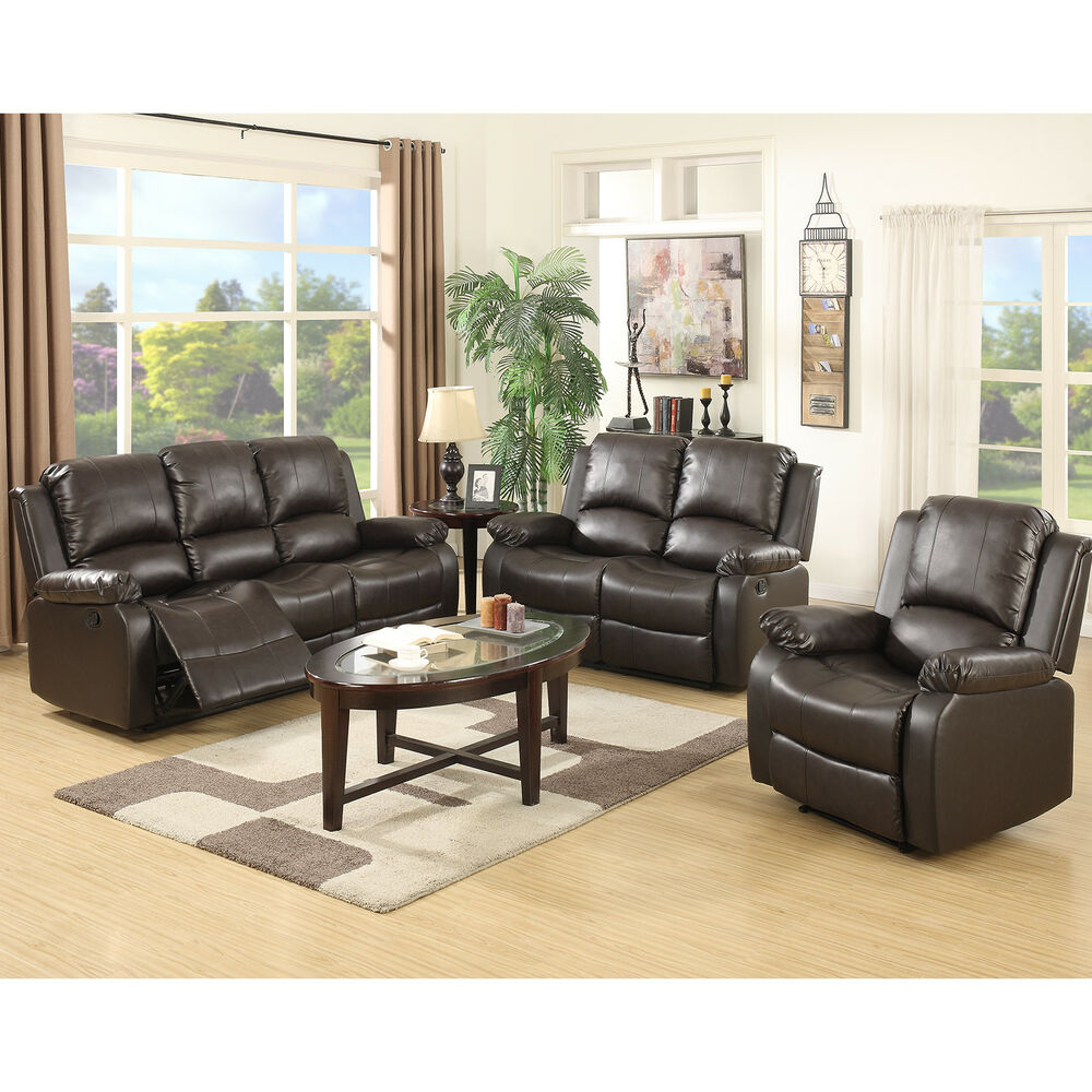 3 Set Sofa Loveseat Chaise Couch Recliner Leather Living Room Furniture Brown Ebay