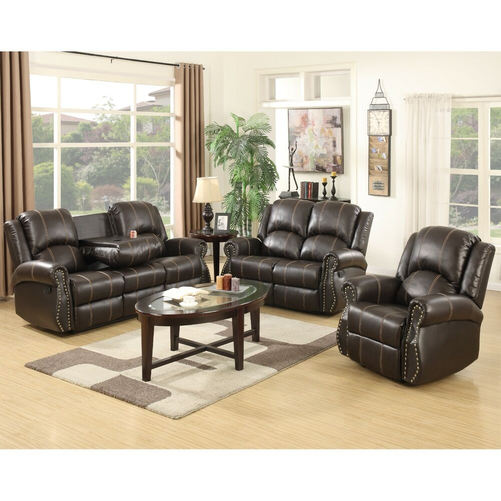 Gold thread 3 2 1 sofa set loveseat couch recliner leather for Brown couch living room