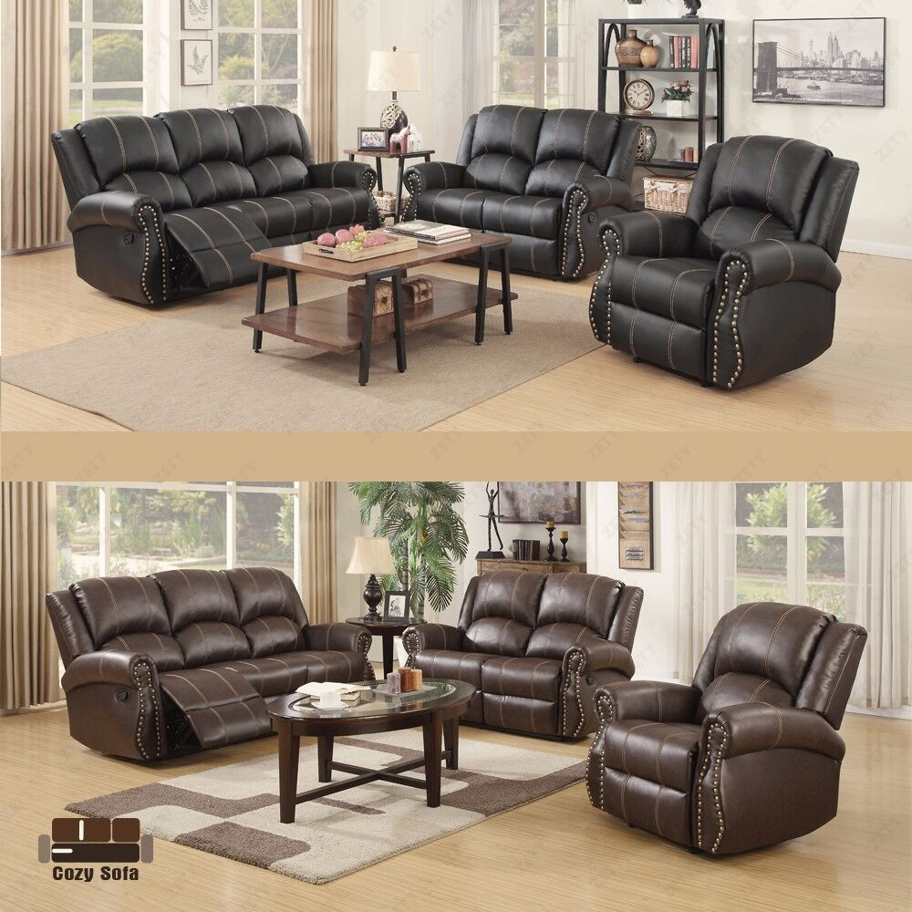 gold thread sofa set loveseat couch recliner 3 2 1 leather living room furniture ebay. Black Bedroom Furniture Sets. Home Design Ideas