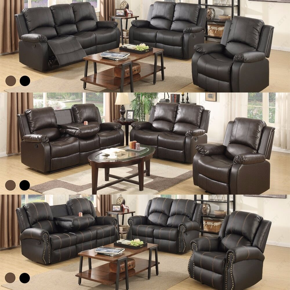 Sofa set loveseat couch recliner leather 3 2 1 seater for Leather sofa family room