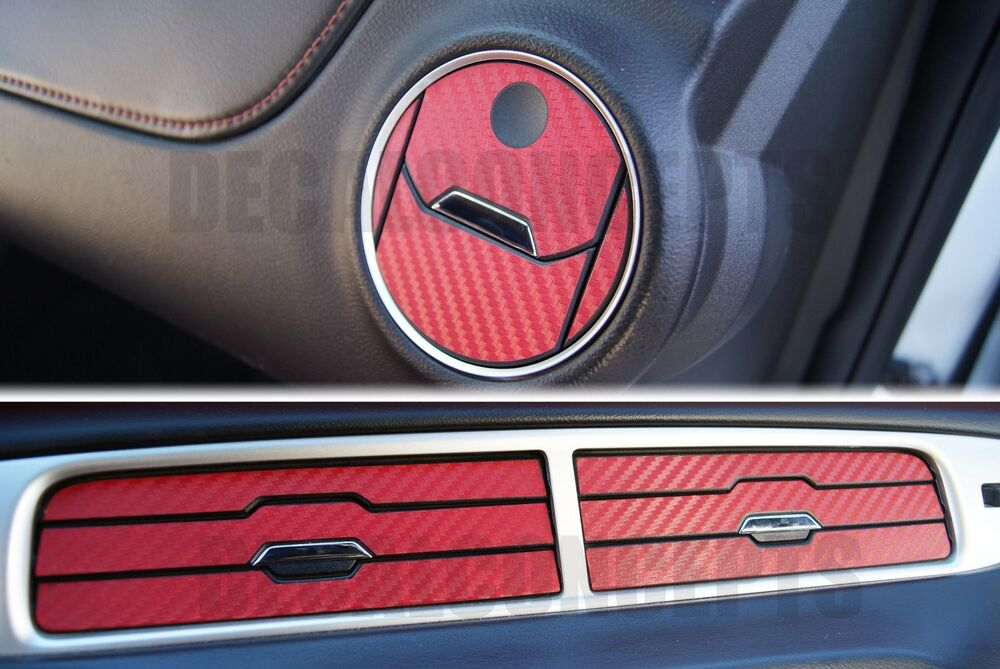 2010 2015 camaro red carbon fiber interior vent decal kit chevy cover sticker ebay. Black Bedroom Furniture Sets. Home Design Ideas