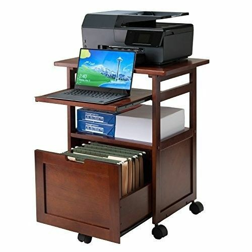 Cart Printer Stand Office Desk Mobile Rolling Laptop