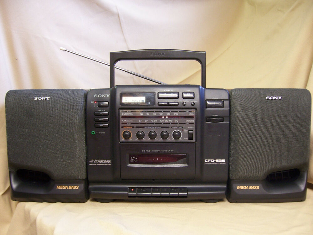 sony cfd 535 portable stereo cd boombox cassette am fm. Black Bedroom Furniture Sets. Home Design Ideas