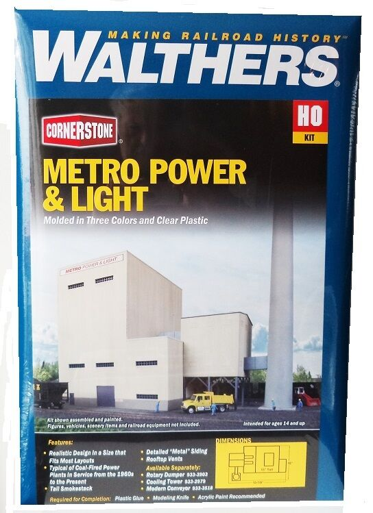 ho scale walthers cornerstone 933 4052 metro power light generating plant kit ebay. Black Bedroom Furniture Sets. Home Design Ideas