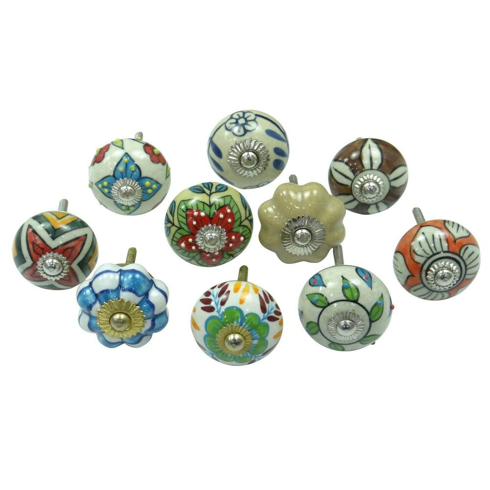 Indian hand painted ceramic drawer knobs lot of 10 pcs for Painted ceramic cabinet knobs