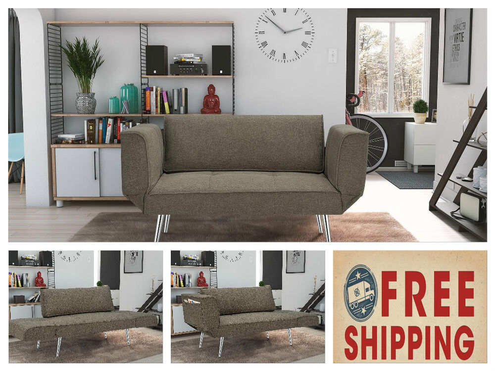Futon Sleeper Loveseat Twin Sofa Dorm Furniture Gray Couch