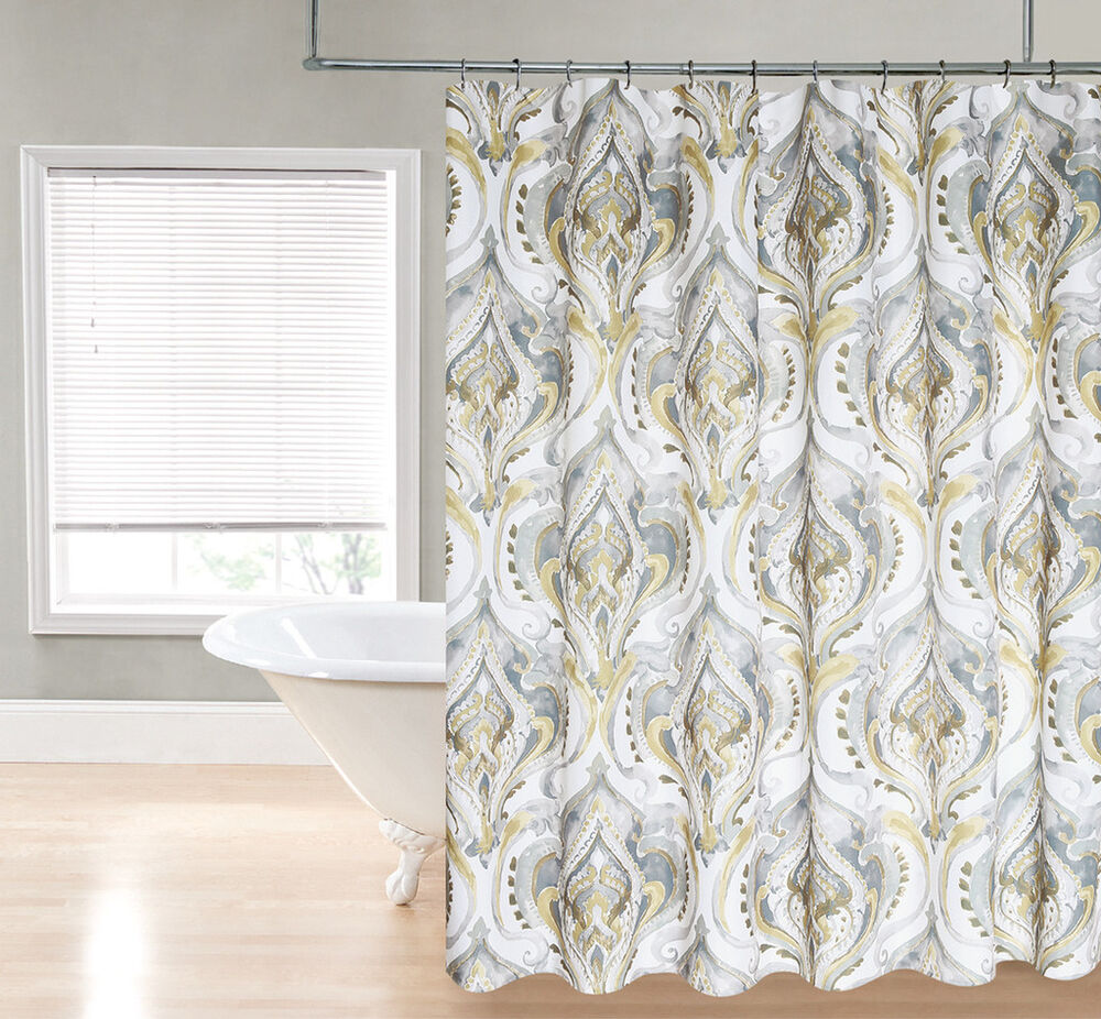 gold tan silver gray watercolor damask devon fabric shower curtain ebay. Black Bedroom Furniture Sets. Home Design Ideas