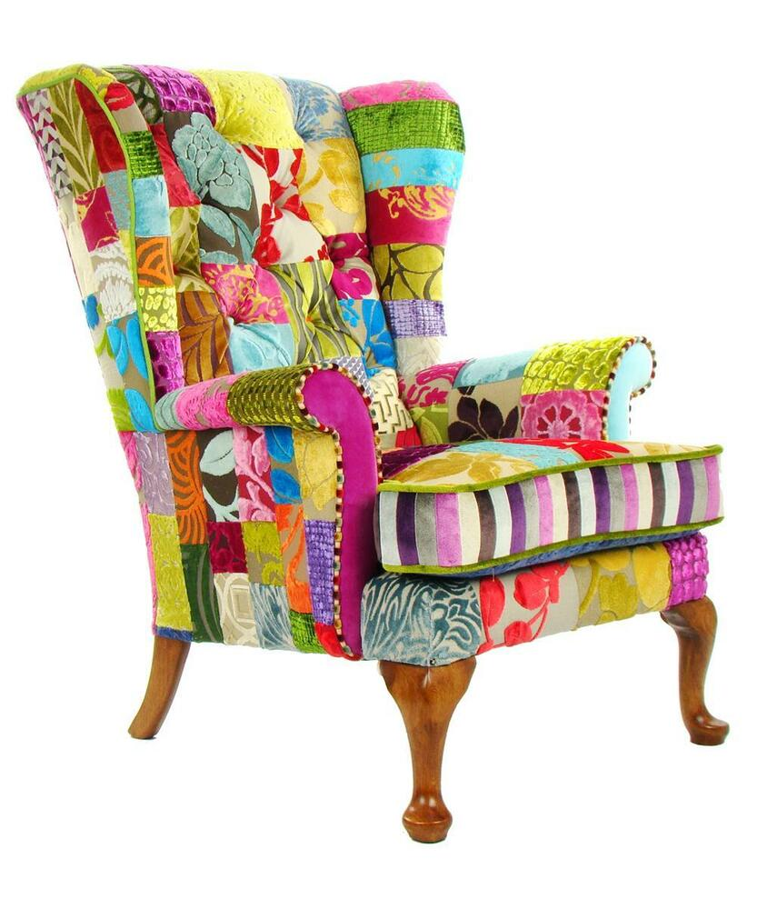 patchwork parker knoll chair in designers guild velvet ebay. Black Bedroom Furniture Sets. Home Design Ideas