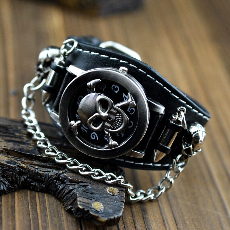 NEW Punk Rock Chain Skull Leather Womens Mens Bracelet ...