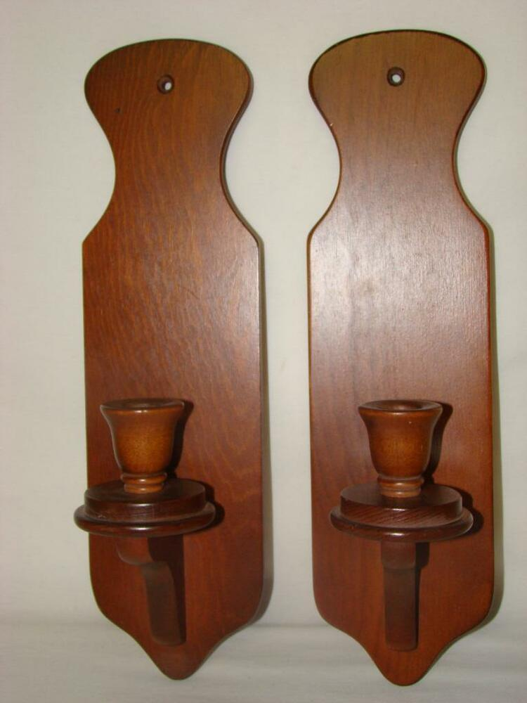 Antique Wood Wall Sconces : Vintage Wood Wall Sconces / Candle Holders eBay