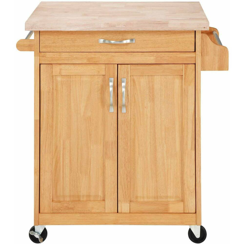 Kitchen island cart butcher block rolling cupboard cabinet for Kitchen table with storage