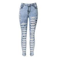 Light Blue Women ripped Jeans 27881 Denim Skinny Stylish Casual Washed Pants