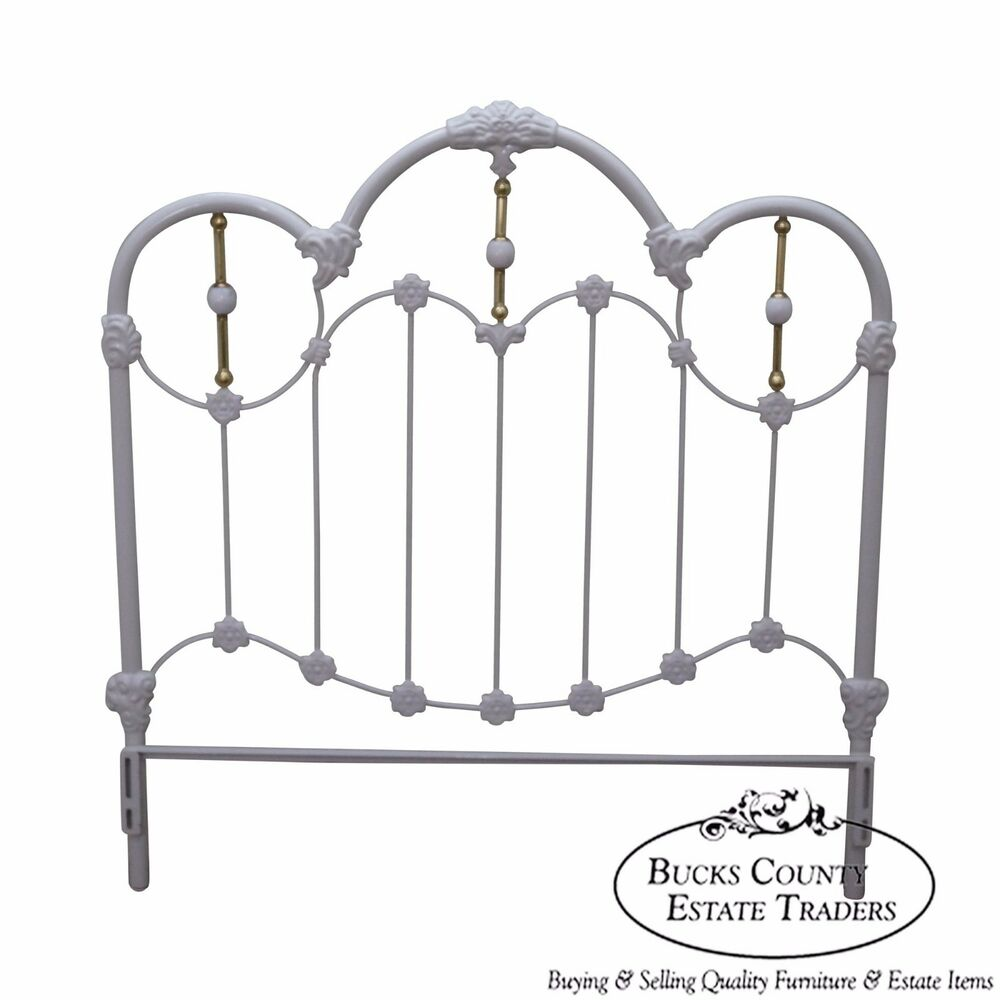 Victorian White Iron Beds : Painted iron brass victorian style full size headboard