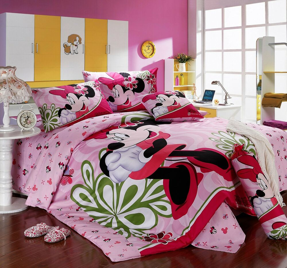 disney licensed minnie mouse 7pcs twin full queen size comforter in a bag ebay. Black Bedroom Furniture Sets. Home Design Ideas