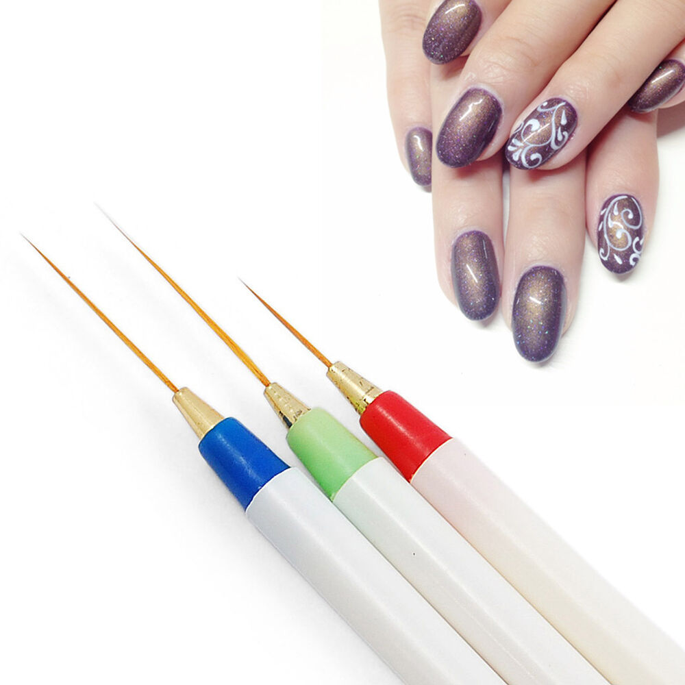 Nail Art Pens: 3x Design DIY Acrylic Drawing Painting Striping UV Gel Pen