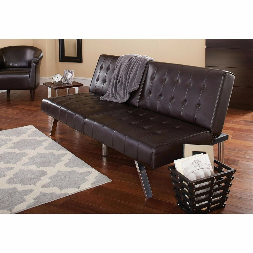 Futon Sofa Bed Sleeper Faux Leather Tufted Brown Convertible ...