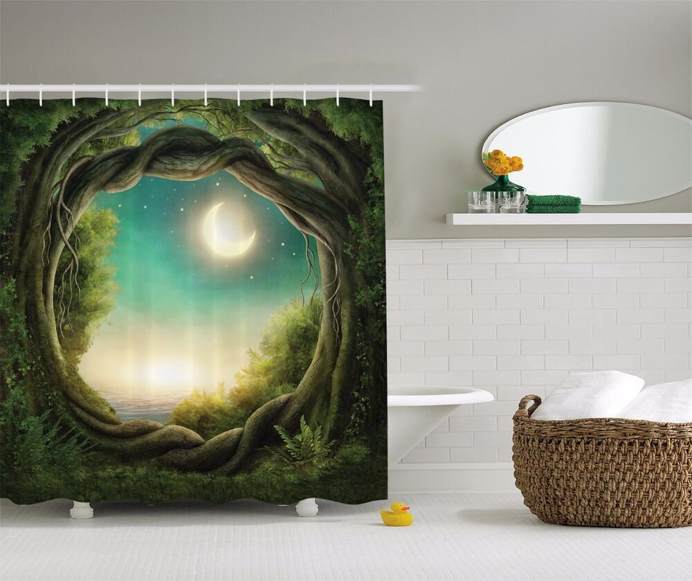 Magical Green Tree Forest With Moon Nature Fabric SHOWER