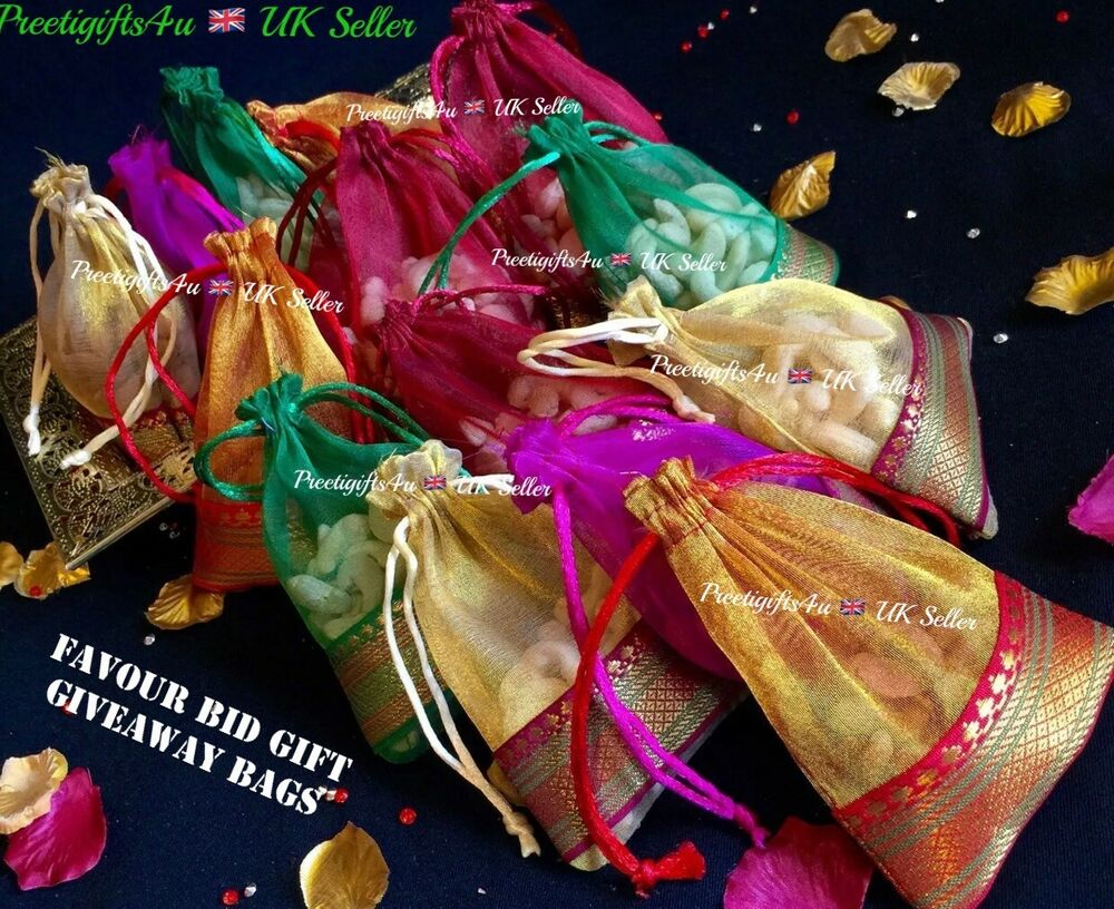Indian Wedding Gift Decoration : 20* Wedding Table Mehndi Decoration Bid Favour Gift Bag-Indian Wedding ...