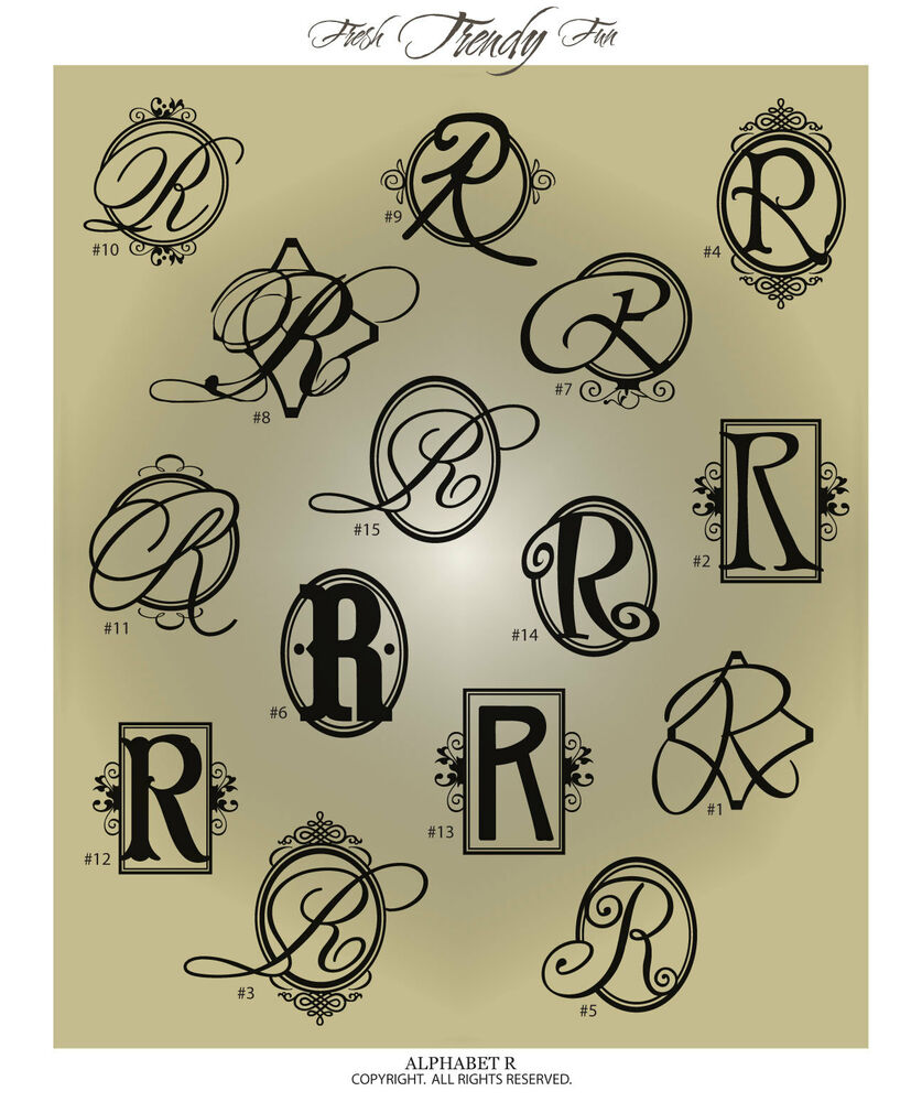 Fancy monogram letter r vinyl wall decal sticker for Monogram homes