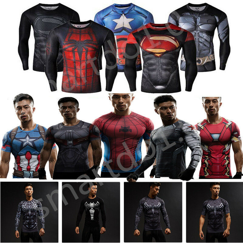 men 39 s compression marvel superhero tee t shirts gym sport. Black Bedroom Furniture Sets. Home Design Ideas