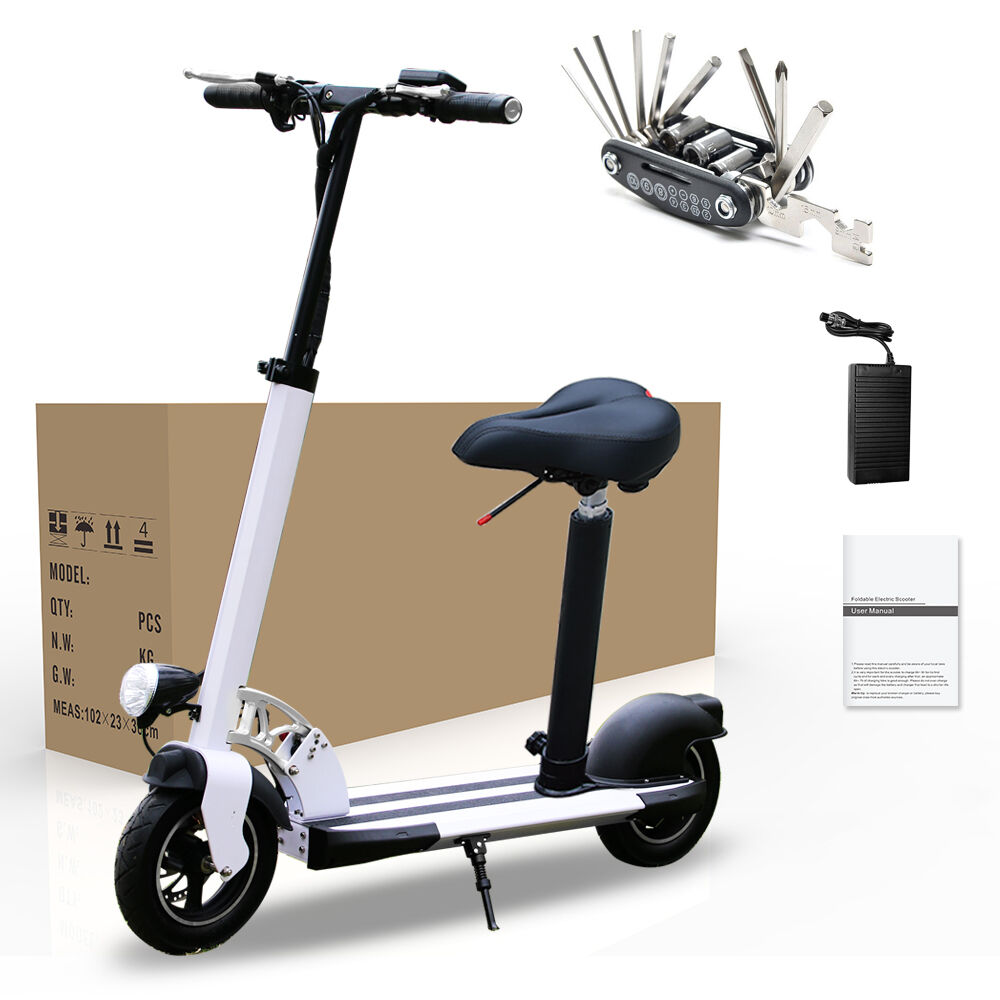 folding electric motorized scooter with seat portable safe. Black Bedroom Furniture Sets. Home Design Ideas
