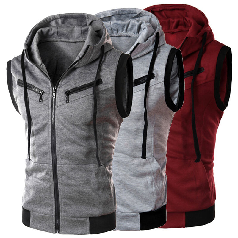 New Men's Fashion Casual Sleeveless Slim Fit Hooded ...