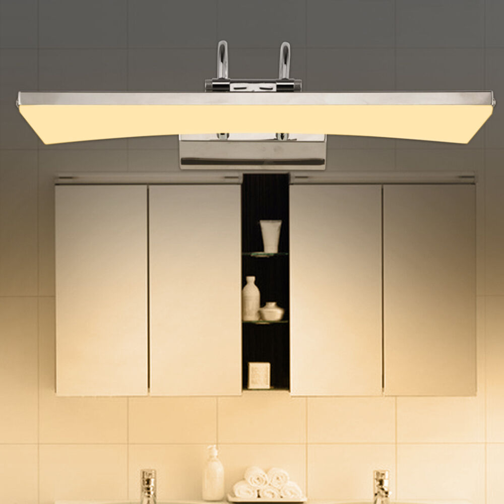 Modern stainless steel led bathroom make up light cabinet mirror light bar lamps ebay for Stainless steel bathroom lights