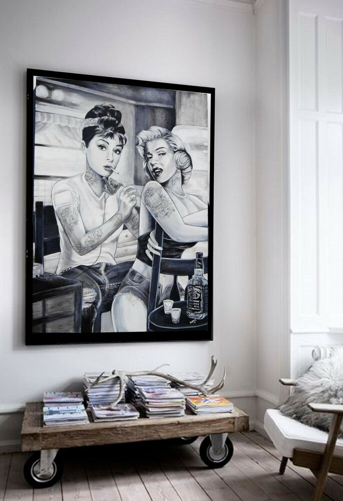 xxl leinwand 135x100x5 audrey hepburn u marilyn monroe bild ikea schwarz weiss ebay. Black Bedroom Furniture Sets. Home Design Ideas