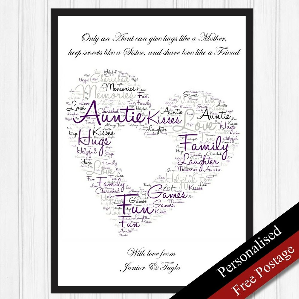 Auntie gift personalised word art gift print keepsake for Personalised word art template
