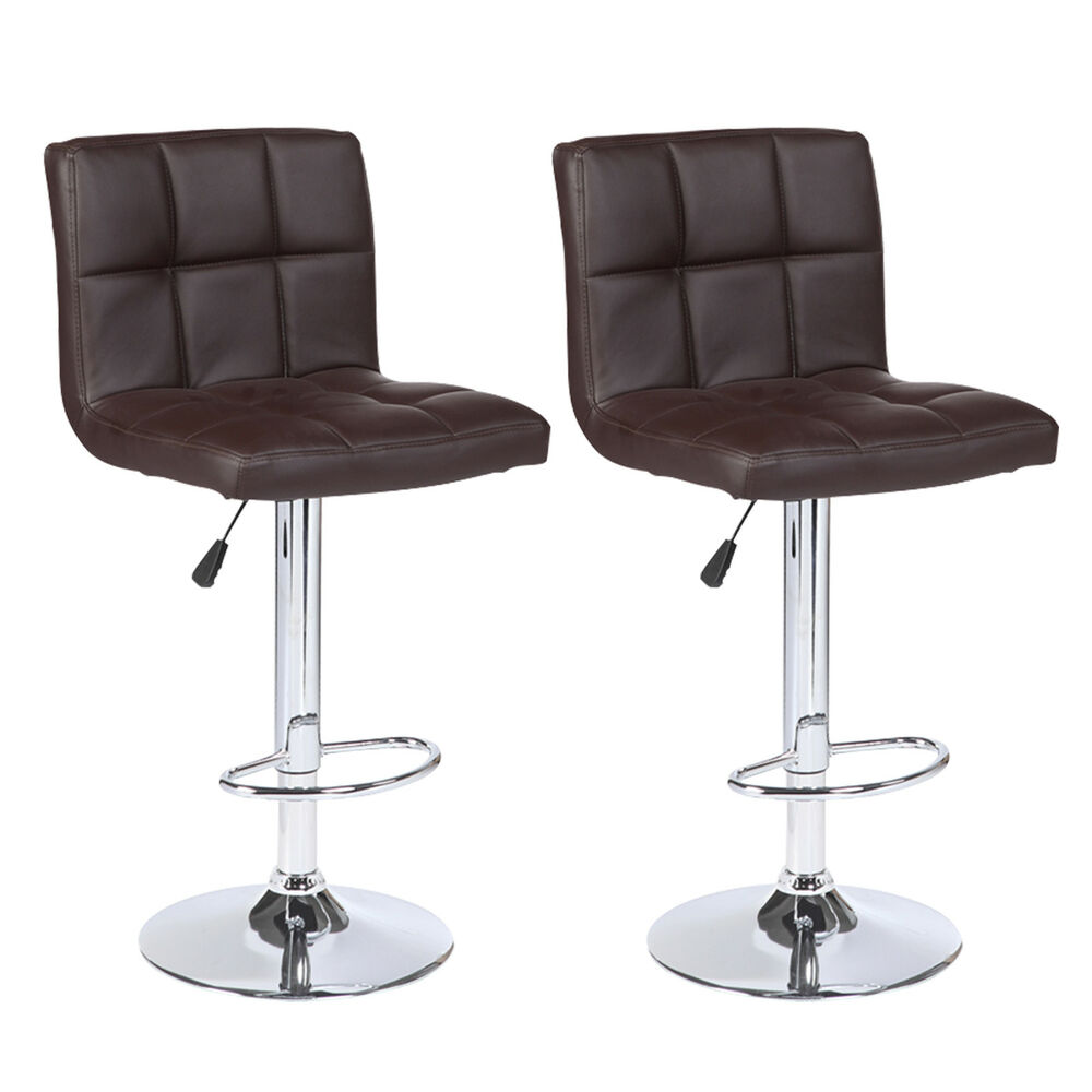 Set Of 2 Counter Height Leather Adjustable Swivel Bar