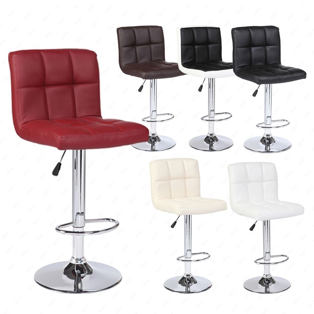 Modern Set Of 2 Bar Stools Leather Adjustable Swivel Pub