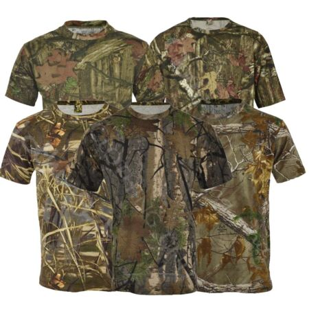 img-Mens Jungle Print Camouflage Army Combat Short Sleeve T Shirt Fishing Hunt S-5XL