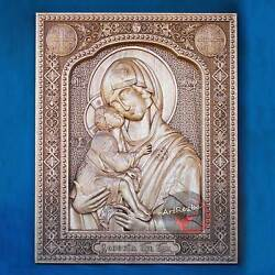 Our Lady of the Don (Донская) 3D Orthodox Wood Carved Icon (20''x16'')