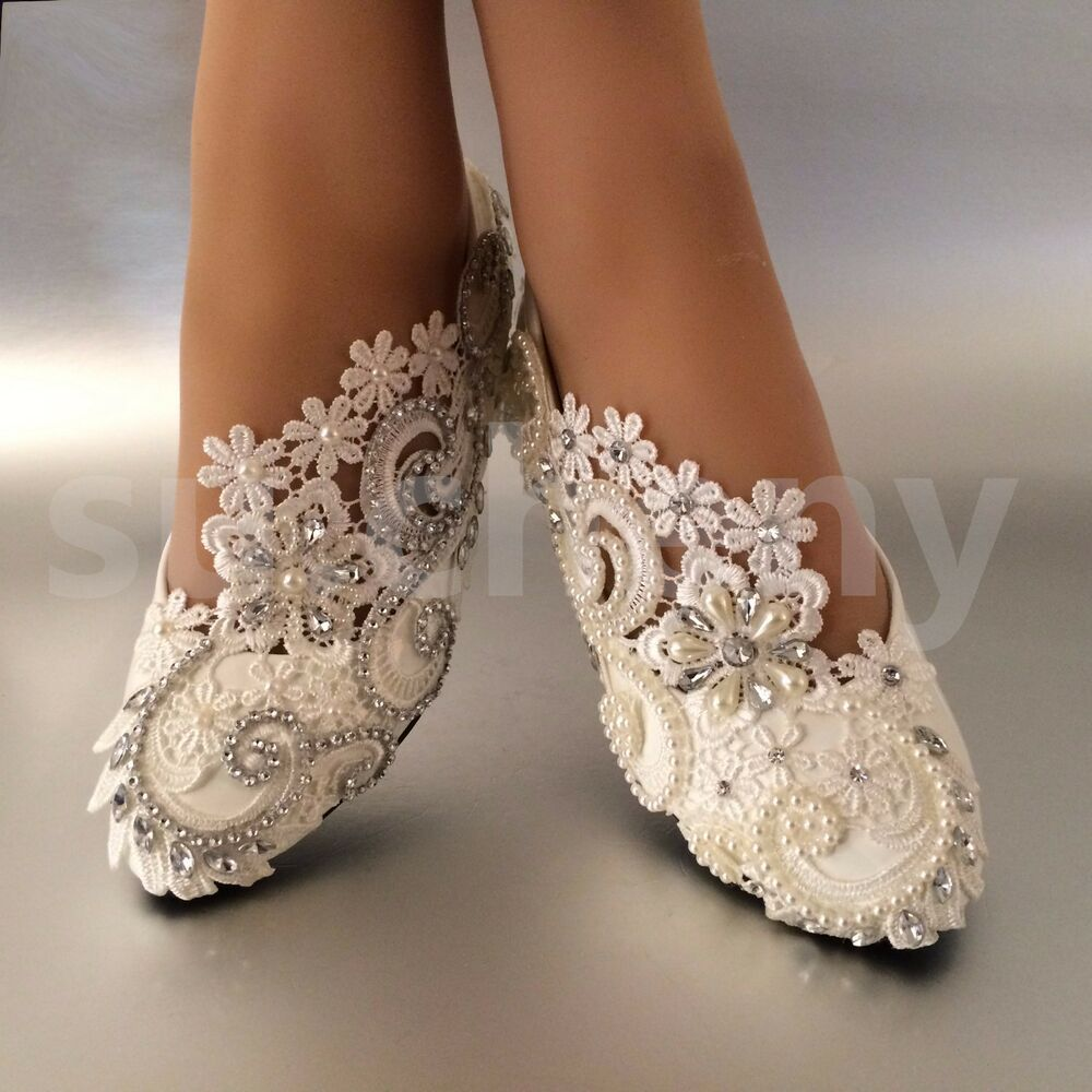 White / Ivory Pearls Lace Crystal Wedding Shoes Flat
