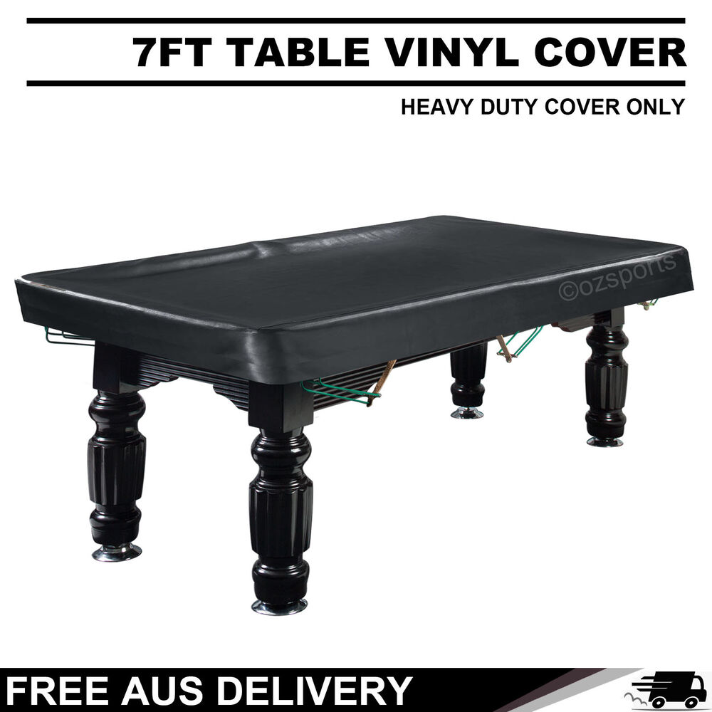 7FT Black Heavy Duty Fitted Pool Snooker Vinyl Table Cover
