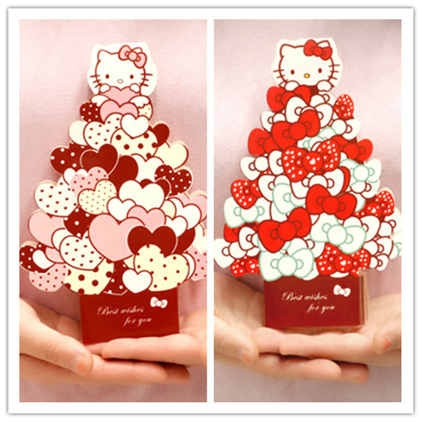 Details About 3D Kitty Cat Greeting Card Message Happy Birthday Childrens Day Gift